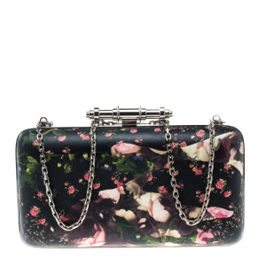 Givenchy Black/Multicolor Floral Print Box Clutch