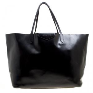 Givenchy Black Glazed Leather Large Antigona Shopping Tote