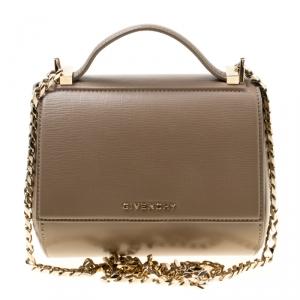 Givenchy Dark Beige Leather Mini Pandora Box Shoulder Bag