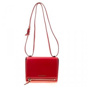 Givenchy Red Leather Mini Pandora Box Crossbody Bag