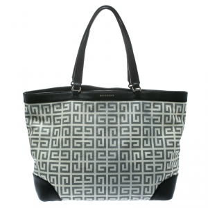Givenchy Grey/Black Coated Canvas and Leather Shopper Tote