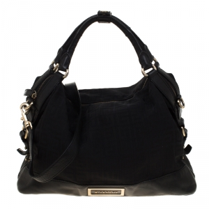 Givenchy Black Signature Canvas and Leather Top Handle Bag