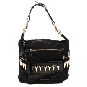 Givenchy Black Nylon and Leather Studded Hobo