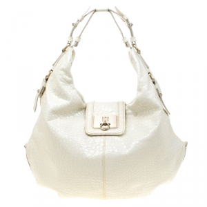 Givenchy White Textured Patent Leather Hobo