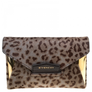 Givenchy Beige Leopard Print Pony Hair Antigona Envelope Clutch Bag