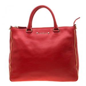 Givenchy Red Leather Zip Detail Top Handle Bag