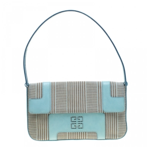Givenchy Powder Blue Stripped Canvas and Leather Shoulder Bag