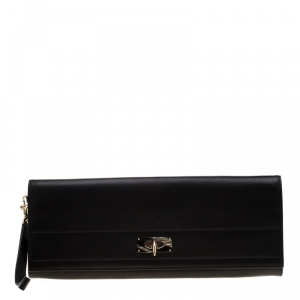 Givenchy Black Leather Shark Tooth Long Wristlet Clutch
