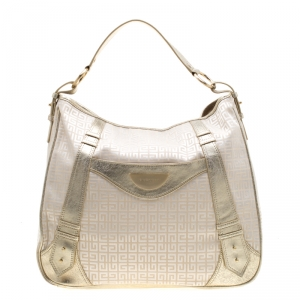 Givenchy Beige/Gold Fabric and Leather Hobo