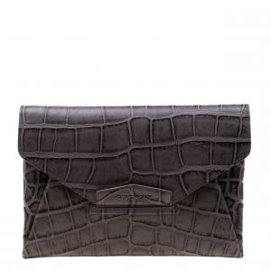 Givenchy Grey Croc Embossed Leather Antigona Envelope Clutch