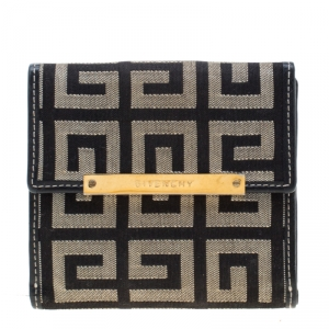 Givenchy Beige/Black Canvas Compact Wallet