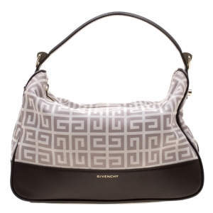 Givenchy Brown/Off-White Monogram Canvas and Leather Hobo