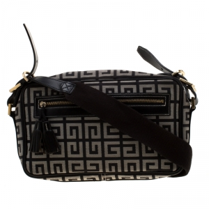 Givenchy Black/White Signature Canvas and Leather Crossbody Bag