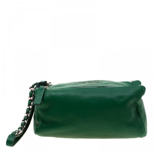 Givenchy Green Leather Pandora Wristlet Pouch