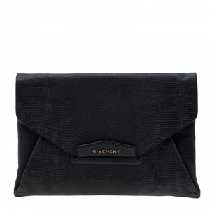 Givenchy Black Lizard Embossed Antigona Envelope Clutch