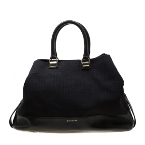 Givenchy Black Monogram Canvas and Leather Satchel