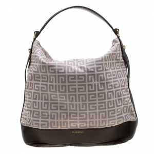 Givenchy Brown/Grey Monogram Canvas and Leather Large Hobo
