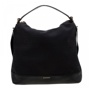 Givenchy Black Monogram Canvas and Leather Large Hobo