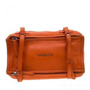Givenchy Orange Leather Mini Pandora Crossbody Bag