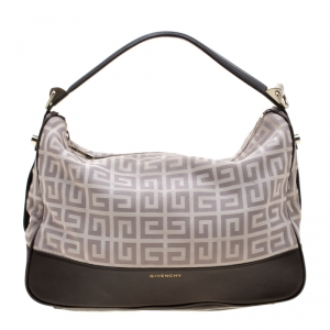 Givenchy Brown/Grey Monogram Canvas and Leather Small Hobo