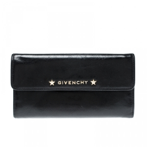 Givenchy Black Logo Star Leather Continental Flap Wallet