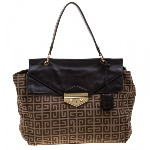 Givenchy Brown Canvas and Leather Top Handle Bag