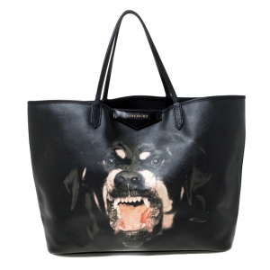 Givenchy Black Rottweiler Print Coated Canvas Medium Antigona Tote