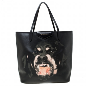 Givenchy Black Coated Canvas and Leather Rottweiler Antigona Tote