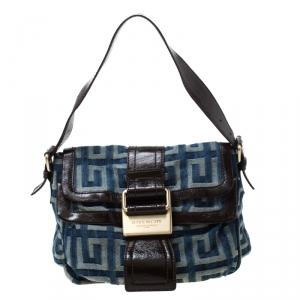 Givenchy Blue/Brown Monogram Denim and Leather Shoulder Bag