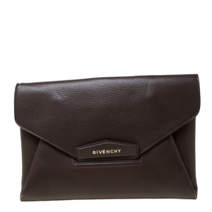 Givenchy Brown Leather Medium Antigona Envelope Clutch