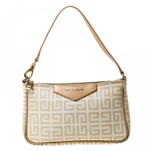 Givenchy Beige Monogram Coated Canvas and Leather Baguette