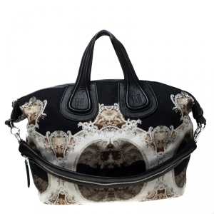 Givenchy Black/Beige Cathedral Print Canvas and Leather Nightingale Tote