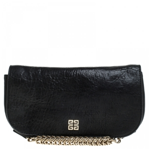 Givenchy Black Leater Chain Detail  Flap Clutch
