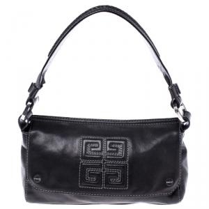 Givenchy Black Leather Logo Flap Shoulder Bag