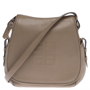 Givenchy Beige Leather Logo Flap Shoulder Bag