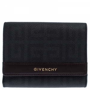 Givenchy Black Monogram Leather Flap Compact Wallet