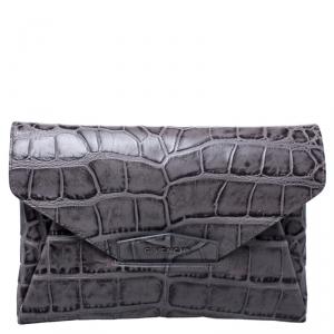 Givenchy Grey Croc Embossed Leather Medium Antigona Envelope Clutch