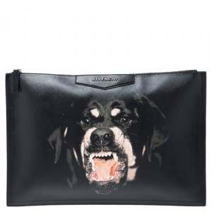 Givenchy Black Coated Canvas Rottweiler Face Clutch
