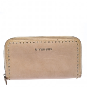 Givenchy Beige Studded Leather Pandora Zip Around Wallet