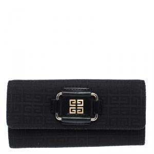 Givenchy Black Signature Canvas Buckle Flap Wallet