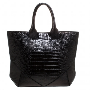 Givenchy Black Croc Embossed Leather Easy Tote
