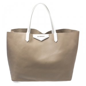 Givenchy Dark Beige Leather Antigona Shopper Tote with Pouch