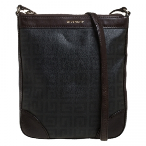 Givenchy Black/Brown Monogram Coated Canvas and Leather Messenger Bag