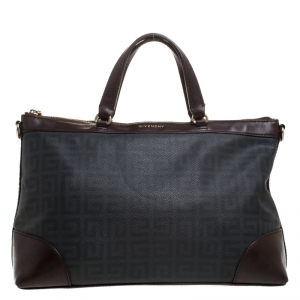 Givenchy Black/Brown Monogram Coated Canvas and Leather Tote
