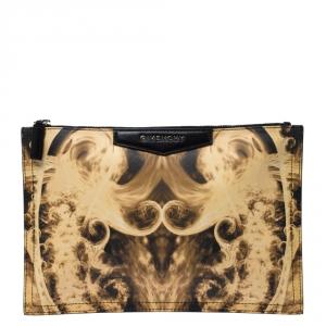 Givenchy Yellow/Black Flame Print Antigona Zip Pouch