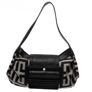 Givenchy Black/Grey Signature Canvas and Leather Shoulder Bag