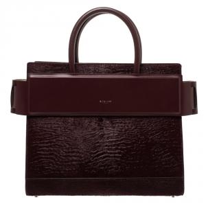 Givenchy Burgundy Calfhair and Leather Horizon Satchel
