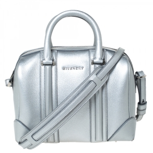 Givenchy Silver Leather Mini Lucrezia Duffel Bag