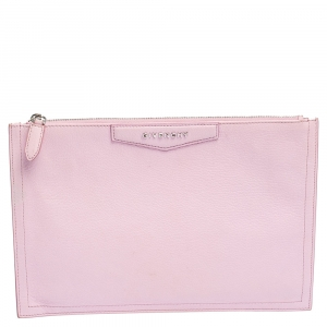 Givenchy Baby Pink Leather Antigona Zip Clutch
