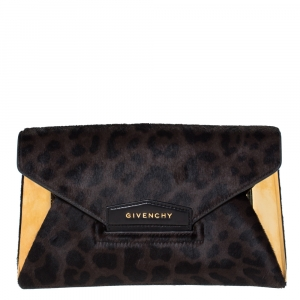 Givenchy Black/Brown Leopard Calfhair and Leather Antigona Metal Clutch